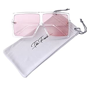 The Fresh Large Oversized Fashion Square Flat Top Sunglasses with Gift Box (5-Shiny Crystal, Light Pink)