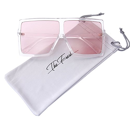 The Fresh Large Oversized Fashion Square Flat Top Sunglasses with Gift Box (5-Shiny Crystal, Light Pink) ()