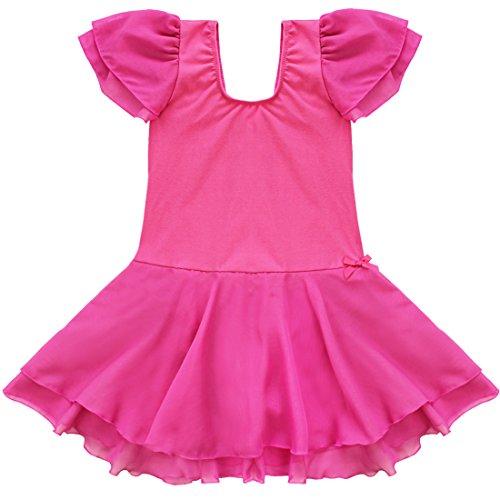 YiZYiF Girls Kids Ballet Dancewear Skating Dress Leotard Skirt Outfit Clothes (2-3, Rose )
