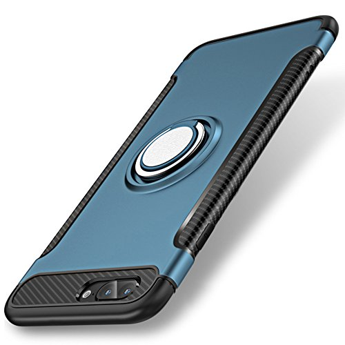 Slim iPhone 7 Case, Shock-Absorption Bumper Dual Layer Protection Case Cover for iPhone 7 With 360 Dgree Rotation Built-in Kickstand - Blue
