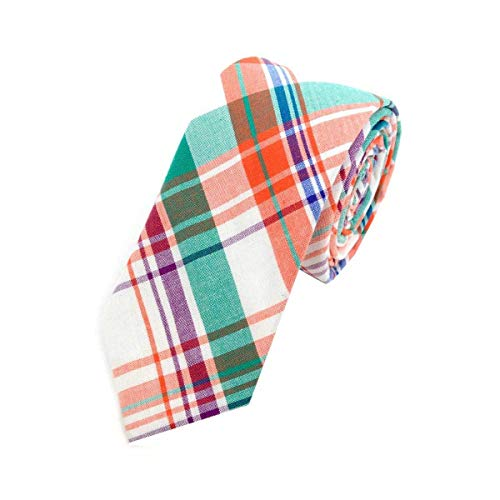 Men's Hipster 100% Cotton Plaid Designer Skinny Narrow Necktie Tie (Orange & Green)