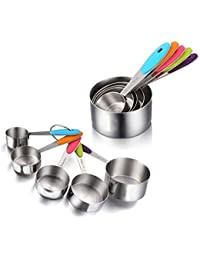 Take 5 PCS Solid Sturdy Stainless Steel Stackable Measuring Cups Set to Measure Dry and Liquid Ingredients with Soft... occupation