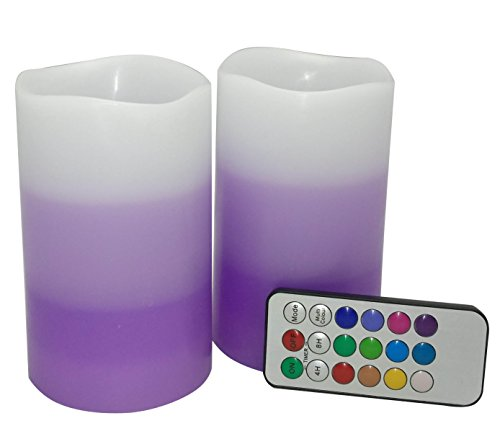 Adoria Led Pillar Candles with Timer,Real Wax led Lights with tri-Layers Purple Colored with Lavendar Scented-Tall 5 inches,2 of Set