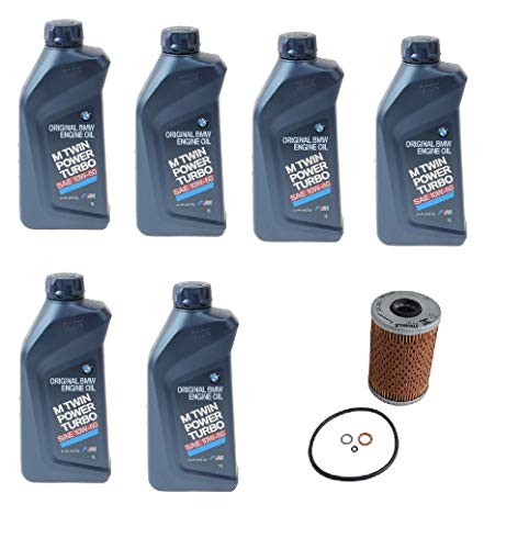Set of 6 Liters Engine Oil - 10W-60 Synthetic Genuine 07510009420 & 1 Oil Filter Kit Mahle 11427833769 for: BMW E36 E46 M3 E85 E86 Z4 (Best Oil For E36 M3)