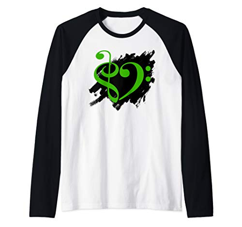 Treble Clef Bass Clef Musical Heart on Grunge Brush Strokes Raglan Baseball Tee