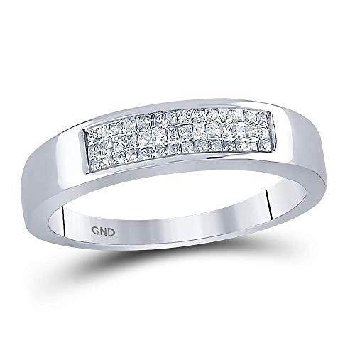 - Princess Diamond Wedding Band Womens Ring Triple Row Fashion Triple Row Invisible Set .25ct 14k White Gold