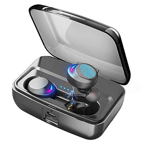 Wireless Earbuds Bluetooth 5.0 Headphones with Microphone IPX8 Waterproof Deep Bass Stereo Sound Auto Paring True Wireless Earbuds with Charging Case (Blue Light Filter Ipod Touch)