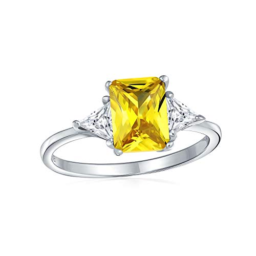 Bling Jewelry Sterling Silver Canary CZ Three-Stone Engagement Ring - Size 6
