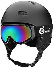 Odoland Kinder und Erwachsene Skihelm Schneehelm mit Skibrille für Erwachsene und Jugendliche, EN1077 Zertifizierter Skihelm für Skating Skating Snowboarding, Stoßfest & Universal Fit