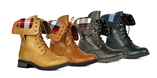 Women's Winter Combat Booties Ankle to Mid Calf Lug Sole Stacked Heel Military Motorcycle Boots - stylishcombatboots.com