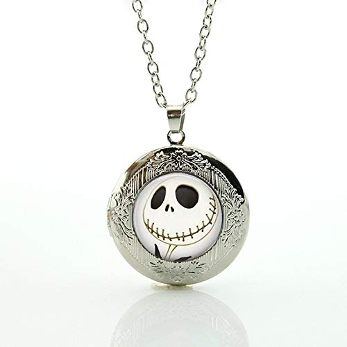 Pendant Necklaces - Halloween Gifts Nightmare Before Christmas Locket Necklace Art Jack Skellington Punk Skeleton Skull Pendant Jewelry N753 - by TAFAE - 1 PCs