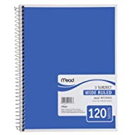 Mead Spiral Notebook, 3 Subject, Wide Ruled, Blue (72223)