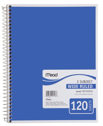 "Mead Spiral Notebook, 3 Subject, Wide Ruled Paper, 120 Sheets, 10-1/2"" x 7-1/2"", Blue (72223)"