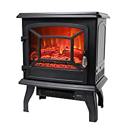 ROVSUN Recessed Electric Fireplace Insert FireBox 1500W 5200 BTU Heater Adjustable Flame Brightness with Remote Control, Two Side Built-In Wall Tiles Logs,CSA Certified SAFETY from ROVSUN