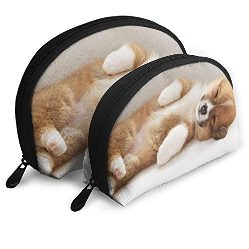Warm-Tone Animals Corgi Puppies Big & Small 2 Pieces Pencil Bag Pen Case Multi-Purpose Storage Tools Canvas Bag Portable Travel Toiletry Pouch Cosmetic Makeup Bags with Zipper