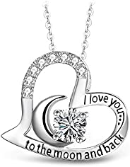 T400 925 Sterling Silver Gold Rosegold Pleated Moon Heart Pendant Necklace I Love You to The Moon and Back Whi