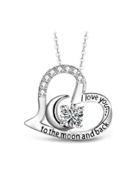 T400 925 Sterling Silver Moon Heart Pendant Necklace I Love You to The Moon and Back White Cubic Zirconia Gift for Women Girls