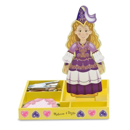 Princess Deluxe Dress Up Set - Melissa & Doug Deluxe Princess Elise Magnetic Wooden Dress-Up Doll Play Set (24 pcs)