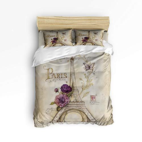 IDOWMAT Full Duvet Cover Sets 4 Piece Bedding Set Bedspread 2 Decorative Pillow Shams, Flat Sheet Adult/Kids/Teens/Children, Ultra Soft Microfiber - Vintage Paris Effiel Tower Purple ()