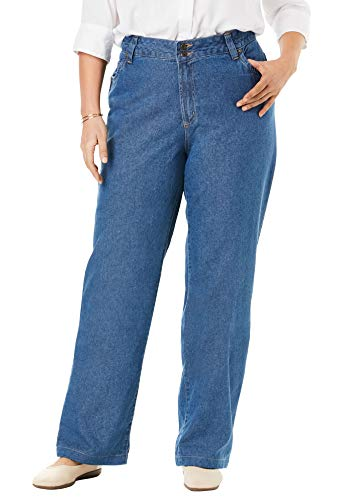 Woman Within Women's Plus Size Wide Leg Cotton Jean - Medium Stonewash, 20 W