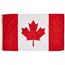 Canada Flag 3x5 ft. Nylon SolarGuard Nyl-Glo 100% Made in USA to Official United Nations Design Specifications by Annin Flagmakers.  Model 191337