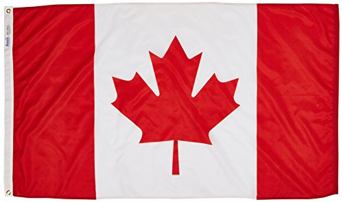 Annin Flagmakers Model 191337 Canada Flag 3x5 ft. Nylon SolarGuard Nyl-Glo 100% Made in USA to Official United Nations Design -