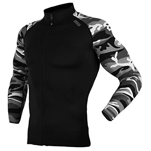 DRSKIN UV Sun Protection Long Sleeve Top Shirts Skins Tee Rash Guard Compression Base Layer Zip UP UPF 50+ (ZDB-MGY49, 2XL)