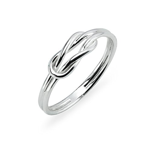 Sterling Silver High Polished Double Band Love Knot Ring Size 10