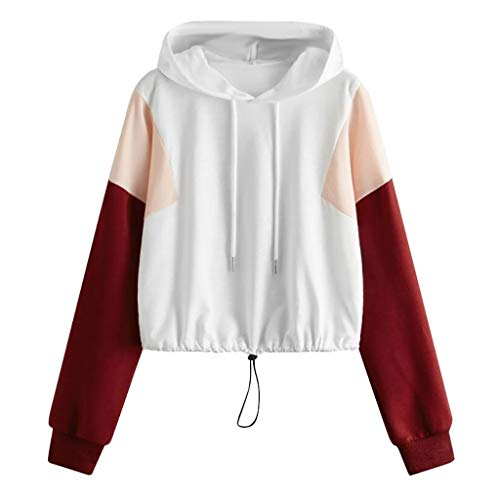 Aunimeifly Stylish Ladies Hoodie Women Casual Loose Tops Drawstring Hooded Sweatshirt Long Sleeve Pullover Tops White (Strings Daisy)