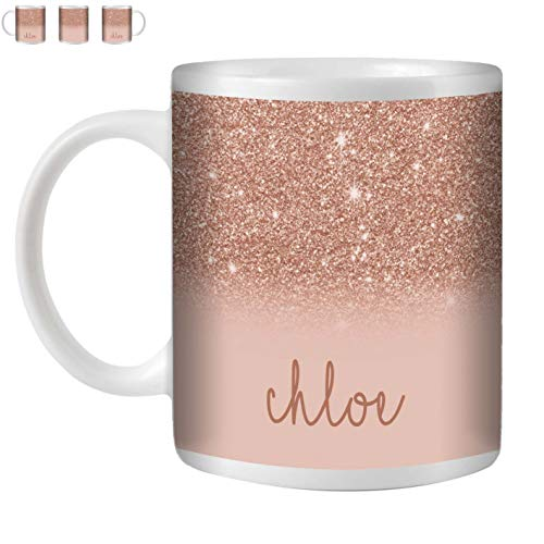 STUFF4 Tea/Coffee Mug/Cup 350ml/Rose Gold/Personalized Printed Glitter Effect/White Ceramic/ST10 ()