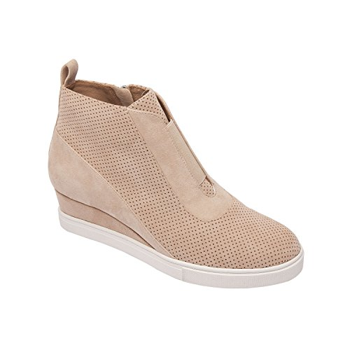 Linea Paolo Anna | Low Heel Designer Platform Wedge Sneaker Bootie Comfortable Fashion Ankle Boot Light Pink Perforated Suede 9M (Designer Platform)