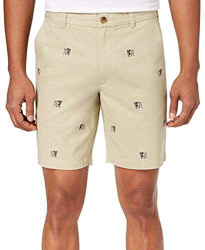 Club Room Men's Bulldog Embroidered 9 Inches Shorts Serene Biege 38 from Club Room