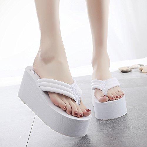 piedi di antislittamento spiaggia scarpe pantofole Ladies' casual alto esterna d FLYRCX di moda spesso estate a flip fondo tacco flop 5TxOw