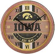 NCAA Iowa Hawkeyes Team Logo Wood Barrel Wall ClockTeam Logo Wood Barrel Wall Clock, Team Color, One Size