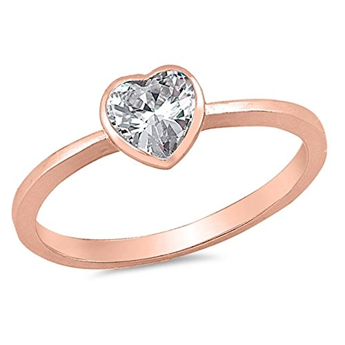 onia Center Classic Heart Ring Rose Gold-Tone Plated 925 Sterling Silver Size 3 ()