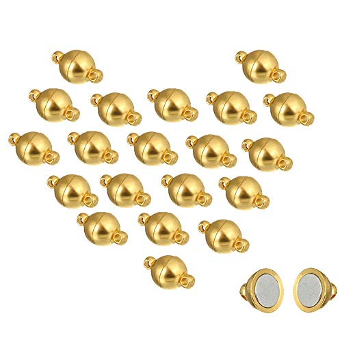 REVEW 20sets Round Brass Magnetic Jewelry Clasps For Bracelet Necklace Making Magnet Converter (Gold 8mm) ()