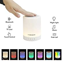 X-DRAGON Bluetooth Speaker Touch Lamp Wireless Bedside Lamp with Smart Color Changing Lamp Mode, Music Player, Hands-free Bluetooth Speakerphone, TF card, AUX supported