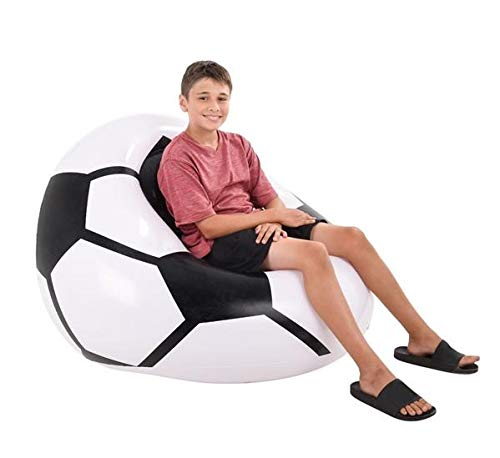 Neliblu Soccer Inflatable Beanless Bean Bag Chair - Super Comfy Chair Easy to Inflate\Deflate and Move from Room to Room