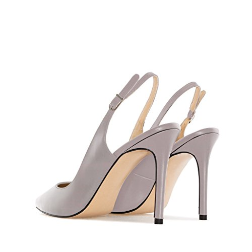 Toe Gray Slingback Classiche Eldof Elegante Stiletto 10cm Scarpe Elegante Donne Corte Slingback Punte Shoes Di Classic Alti Women Court Tacchi Grigio Pointed High Pompe Heels Spillo 10cm Toe A Pumps Eldof vFUwvPqr