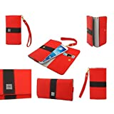 DFV mobile® - Cover Premium with Color Line Design with Card Case for => ACER Liquid Z200 > Red