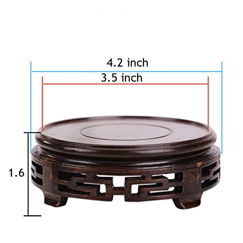 - J-beauty Round Display Stand Rosewood Carved Pedestal Potted Plant Censer Stand Vase Fishbowl Base Decoration Stand (4.2
