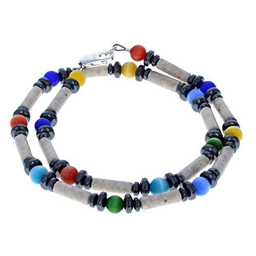 c), Riverstone & Hematite (Hemalyke) Mens Beaded Necklace - 18
