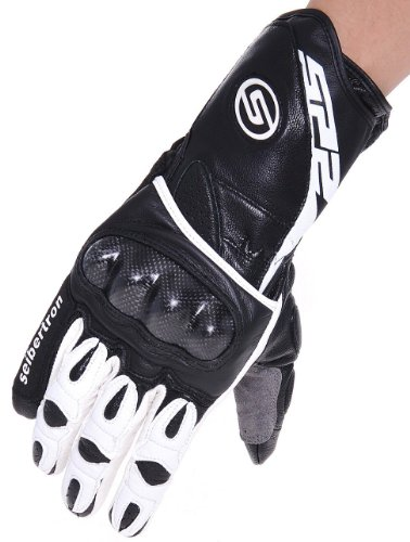 Street Gloves Racing Motorcycle - Seibertron SP2 SP-2 ADULT On-Road Street Racing Motorcycle Gloves Genuine Leather Gloves white+black M&Medium