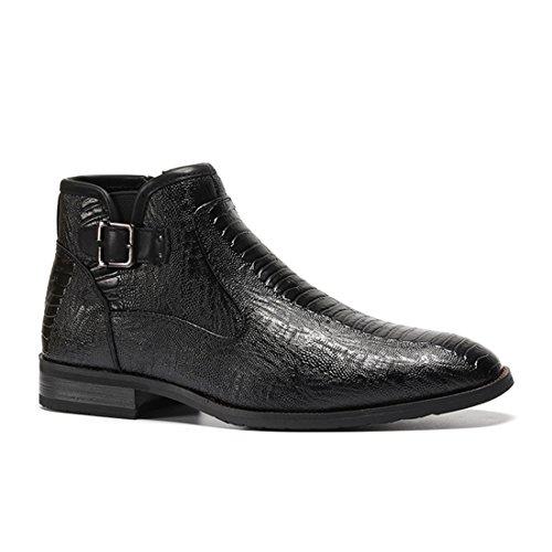 HENGJIA Herren Rindleder Kurzschaft Stiefeln mit Reißverschluß Herbst Winter Chukka Boots R5282 Schwarz
