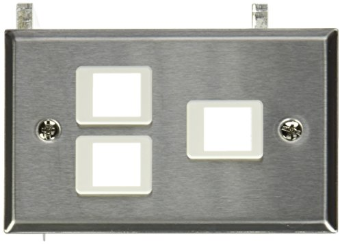 C2G 37095 3-Port Keystone Single Gang Wall Plate, TAA Compliant, Stainless Steel