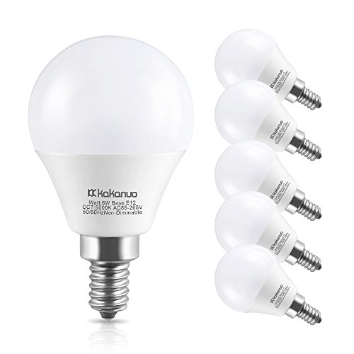 - Kakanuo Candelabra Base Light Bulbs 60W Equivalent,Daylight White 5000K LED Chandelier Bulb, E12 LED Bulbs for Ceiling Fan Decorative G45 LED Globe Bulbs,Non-Dimmable, 6 Pack