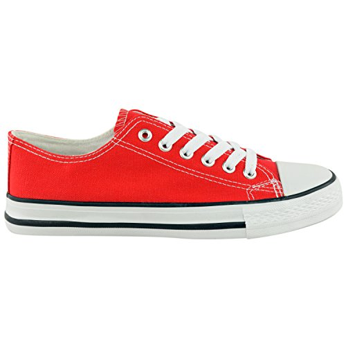LADIES WOMENS CANVAS LACE UP PLIMSOLL FLAT GYM SHOES SNEAKERS TRAINER PUMPS SIZE Red wXlrSen