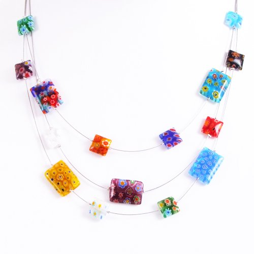 Chuvora Millefiore Venetian Murano Glass Multi-Colored Oblong Beaded Triple Strand Necklace, 16-19 inches - Crystal Venetian Necklace
