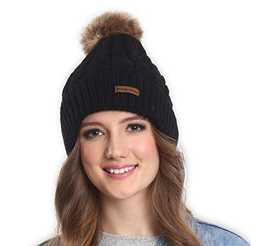 Faux Fur Pom Pom Beanie by Brook + Bay – Stay Warm & Stylish this Winter – Thick, Soft & Chunky Cable Knit Beanie Hats for Women & Men – Serious Beanies for Serious Style – DiZiSports Store