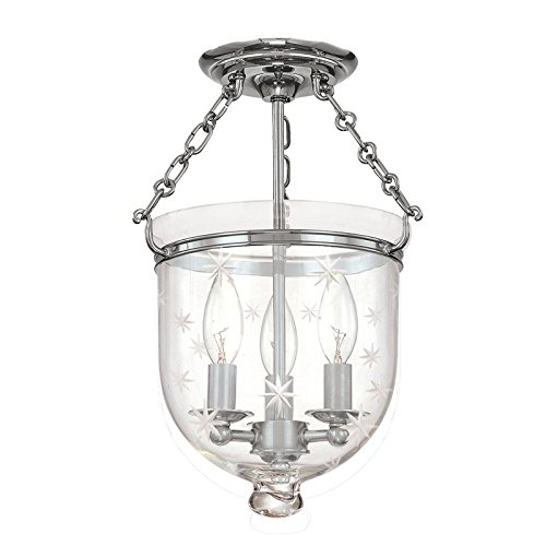 251 Hampton 3 Light - Hampton 3-Light Semi Flush - Polished Nickel Finish with Clear Star Cut Glass Shade